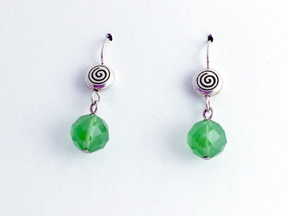 Pewter & Sterling Silver Spiral dangle earrings- green crystal, spirals, Celtic