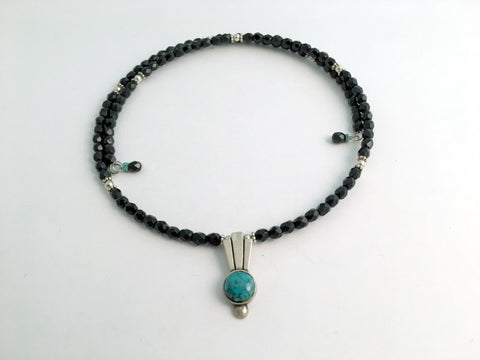 Black faceted glass with Sterling silver and Turquoise Centerpiece Memory Wire Choker