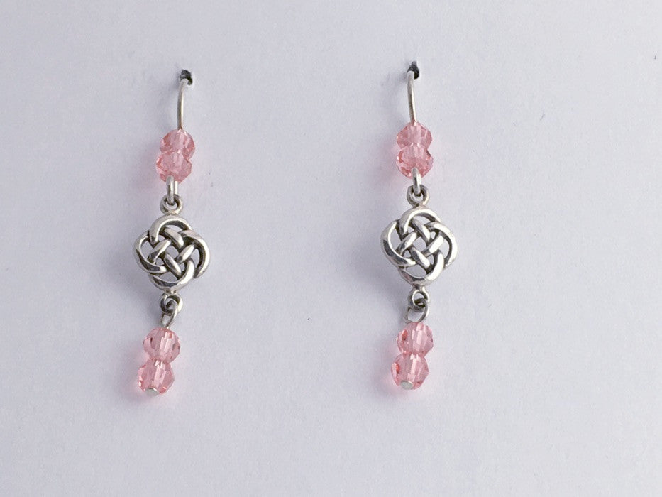 Sterling Silver small  round Celtic Knot dangle Earrings-peach rose crystal,