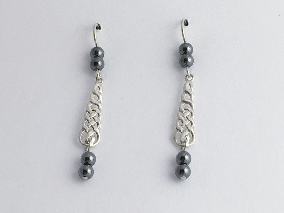 Sterling silver long skinny Celtic braid knot drop earrings- hematite, knots,