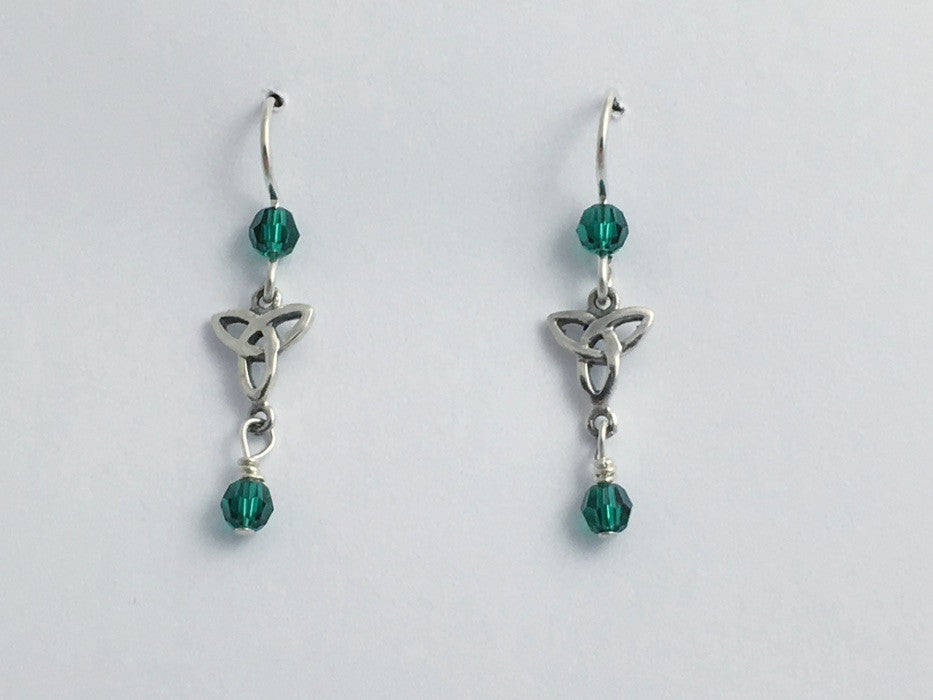 Sterling silver small Celtic Trinity knot dangle earrings- emerald green crystal