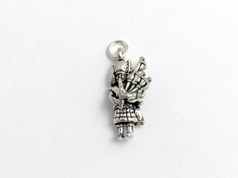 Sterling Silver Bagpiper Charm or pendant- Celtic, Music, Bagpiper, Piper, Bag