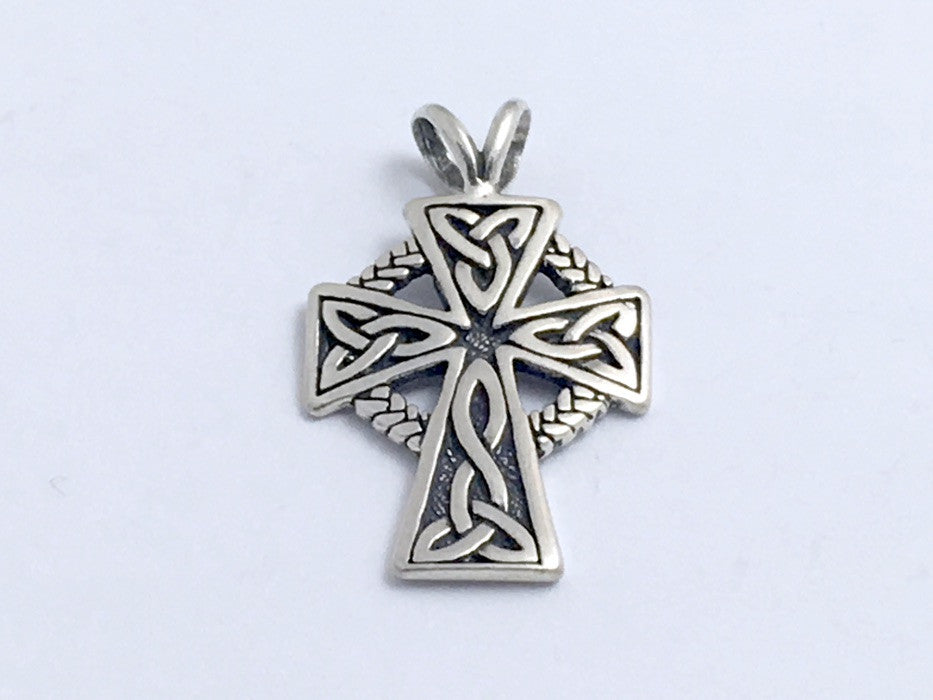 Sterling Silver  Celtic Cross pendant, 1 1/8 inch long, Trinity Knot, braid