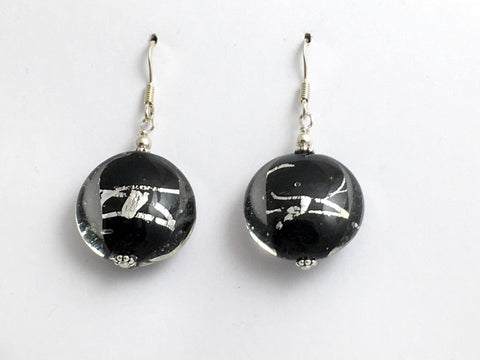 Sterling silver round disc black and silver Foil glass dangle earrings- 1 3/4""