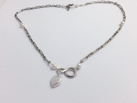 20 inch sterling silver long and short chain Infinity Necklace, freshwater pearls, Heart