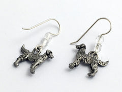 Pewter & Sterling Silver Golden Retriever dog earrings-Labrador, Labs, dogs, lab