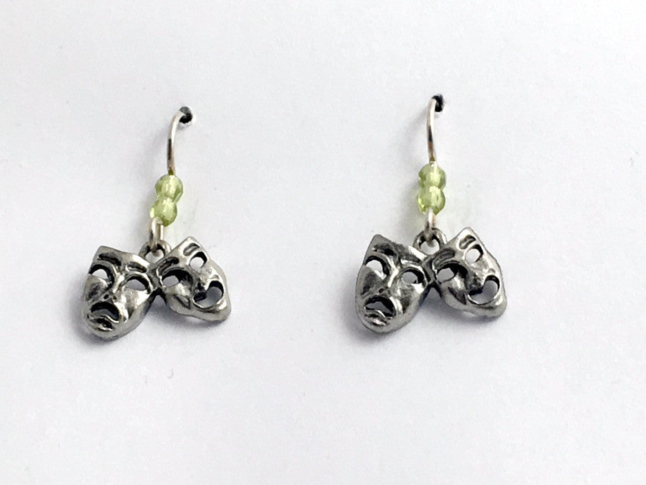Pewter & Sterling silver Comedy/Tragedy mask dangle Earrings-Drama,actor,theater