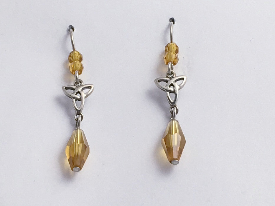 Sterling silver Celtic Trinity knot dangle earrings-amber yellow glass,Triquetra