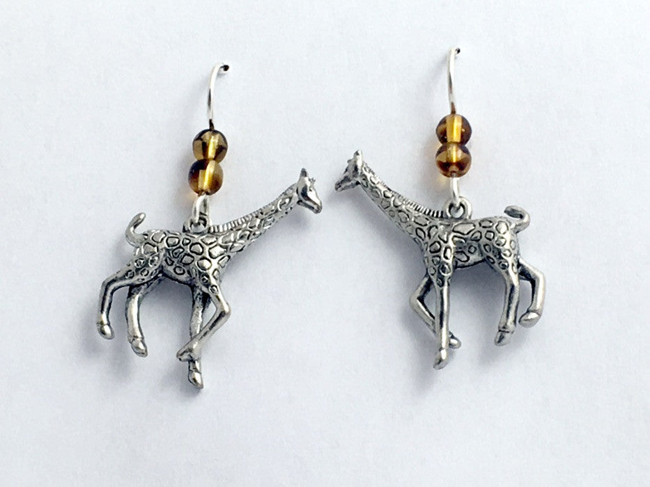 Pewter & Sterling silver large giraffe dangle earrings- giraffes, Africa,safari