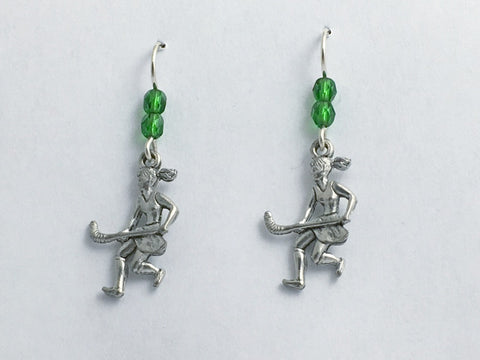 Pewter & sterling silver girls field hockey dangle earrings-team colors, sports