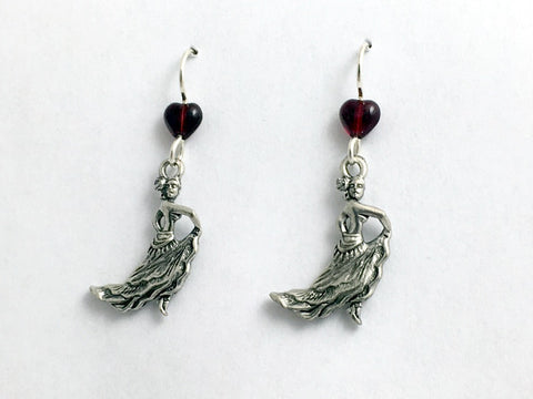 Pewter & sterling silver Flamenco Dancer dangle earrings- Spanish dance, lady