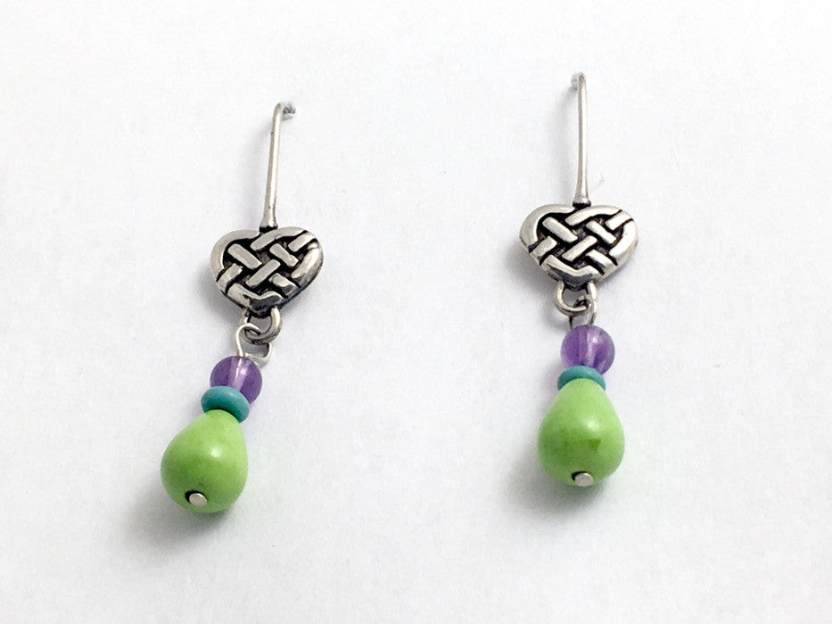 Sterling silver Celtic heart w/chalk turquoise & amethyst dangle earrings-hearts