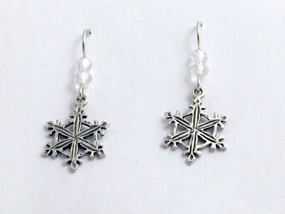 Sterling Silver lacy Snowflake dangle earrings-holiday, winter, snow, snowflakes