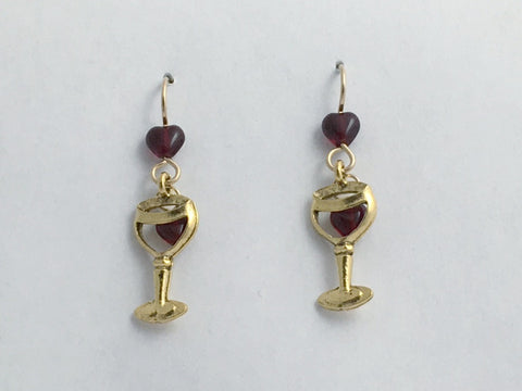 Goldtone Pewter & 14k gold filled wire Wine glass w/ hearts earrings-drinks, Red