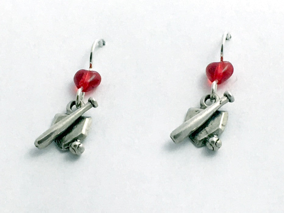 Sterling silver small Baseball dangle Earrings-bat, ball, base,team colors,sport