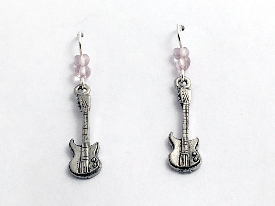 Pewter & sterling silver electric guitar earrings-music- musician, rock, guitars
