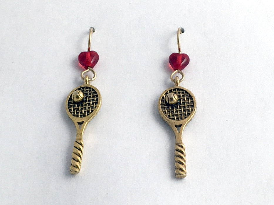 Gold Tone Pewter & 14kgf Tennis Racquet & Ball dangle Earrings-Racket- balls