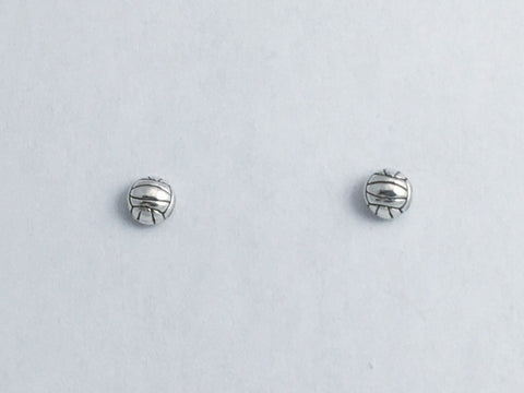 Sterling Silver & Surgical Steel small half round volleyball stud earrings-sport