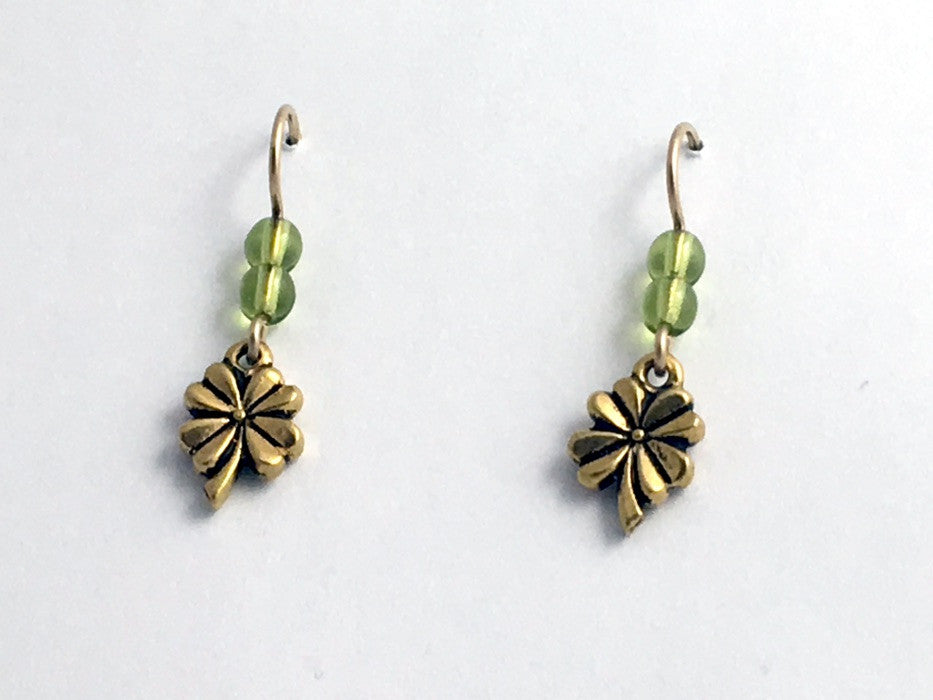 Gold tone Pewter & 14k gf small 4 leaf clover dangle earrings- 4-H, Luck,clovers