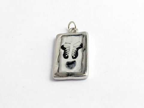 Pewter Frame with Irish Dance soft shoes and heart print pendant-resin, Feis,
