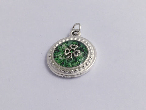 Pewter round frame, green paper, sterling silver shamrock pendant-resin, st patrick