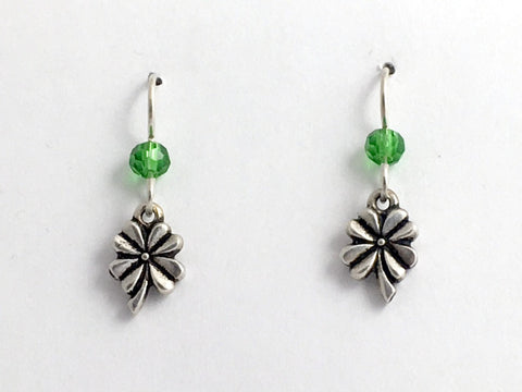 Pewter & Sterling Silver small 4 leaf clover dangle earrings- Luck, clovers, 4-H