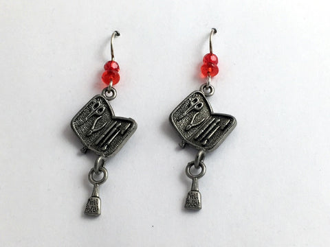 Pewter  & Sterling Silver Manicurist dangle Earrings-nail polish, tool, manicure