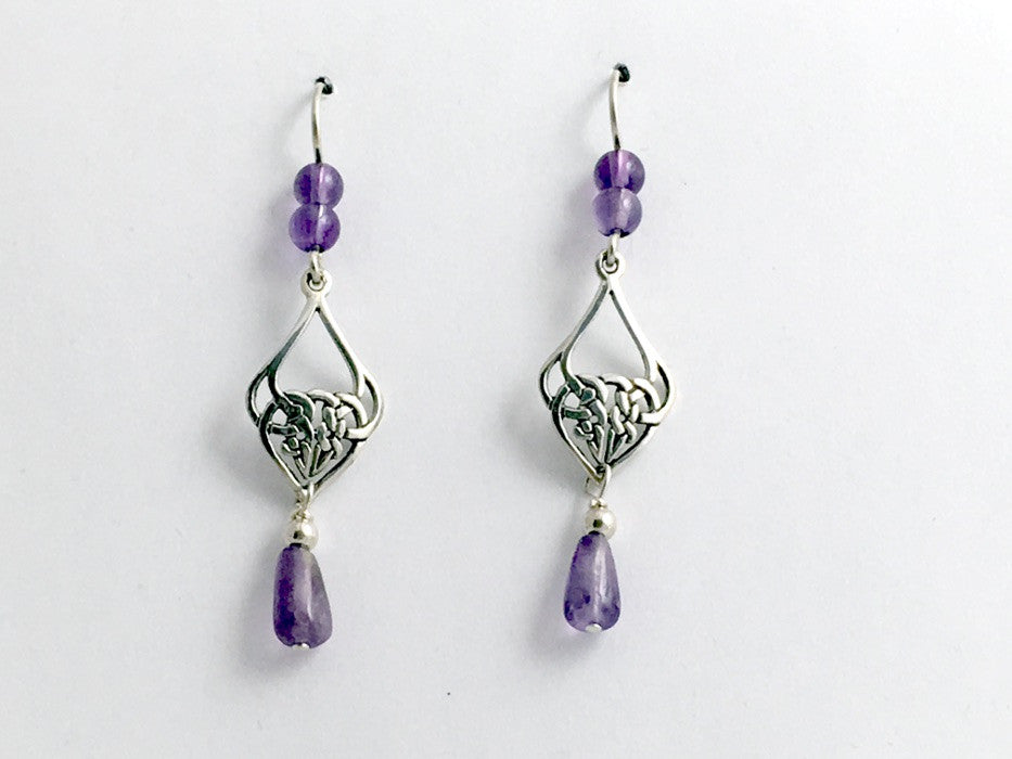 Sterling Silver Celtic Knot drop Earrings- Amethyst beads , knots, February