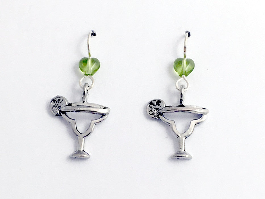 Pewter & sterling silver Margarita glass w/ limes earrings- drinks, margaritas