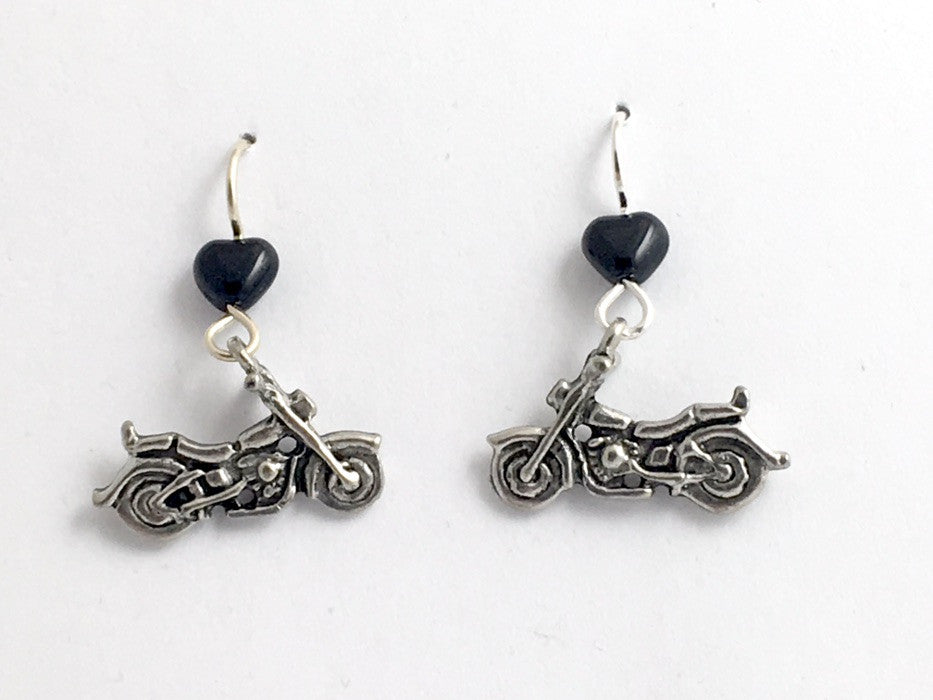 Pewter & sterling silver motorcycle dangle earrings-biker, motor bike, cycle,