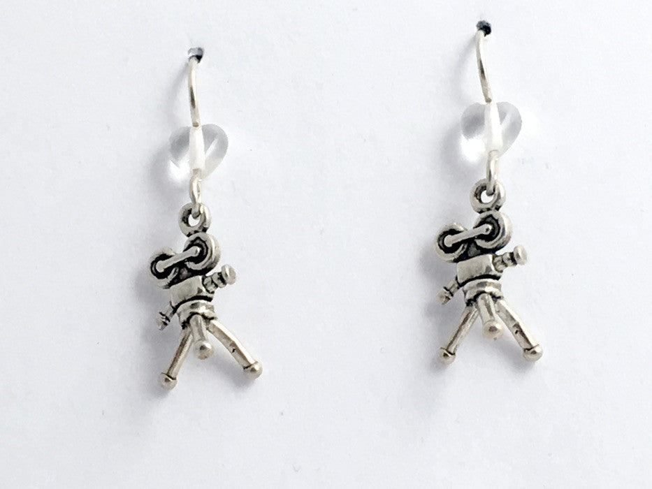 Sterling silver 3-D  Movie Camera dangle Earrings-Drama-Acting-film, cinema, movies