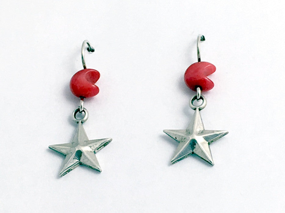Sterling Silver medium star dangle earrings-stellar, celestial, coral moons,moon