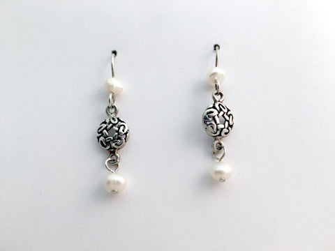 "Sterling Silver round Celtic Knot dangle Earrings-freshwater pearls -1 1/2"" long"