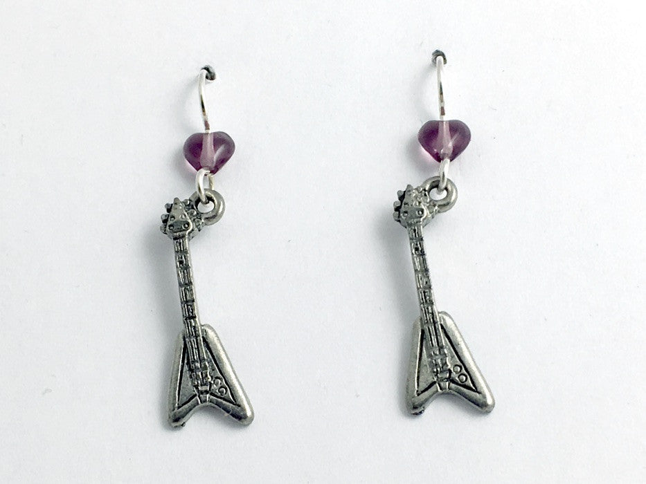 Pewter & sterling silver v shape electric guitar dangle earrings-music, rock