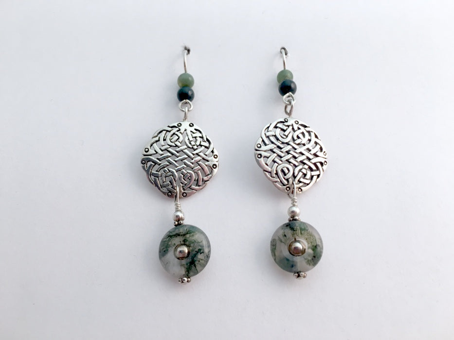 Sterling silver  large round  Celtic knot earrings- moss agate- knots