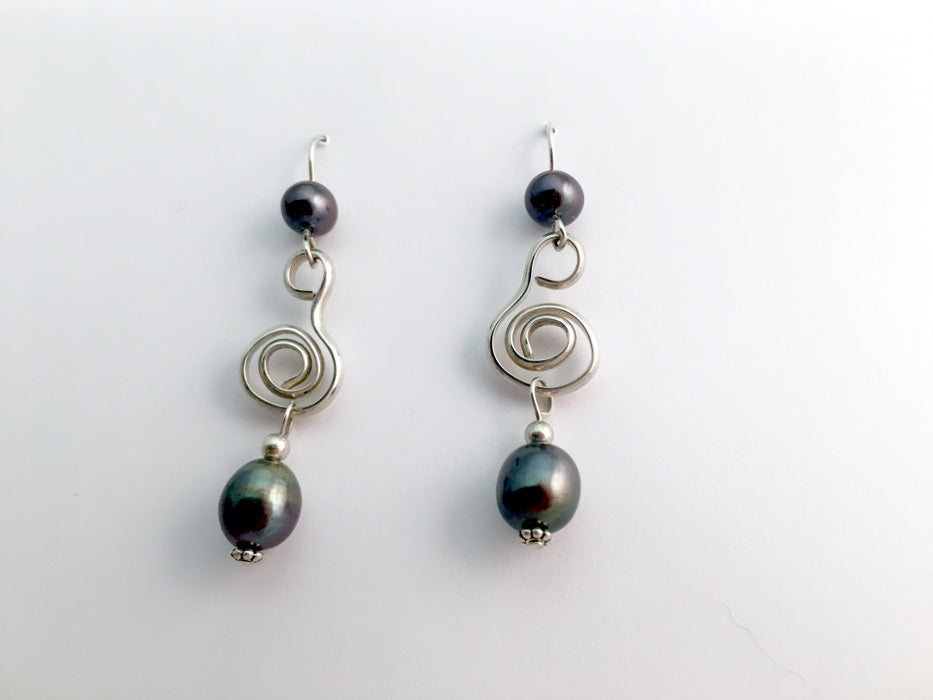 Sterling Silver free form open Spiral Earrings-dark grey freshwater pearl,pearls
