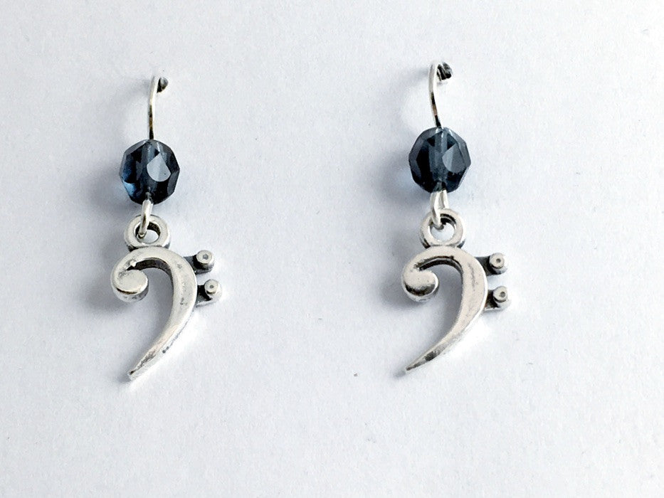 Sterling Silver Bass Clef dangle earrings-denim blue, music,musician,Band,clefs