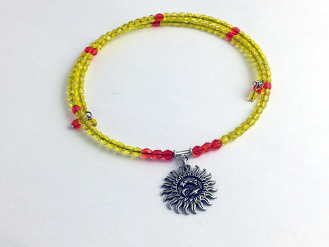 Bright Yellow and Orange faceted glass with Sterling silver Sun Centerpiece Memory Wire Choker, Celestial