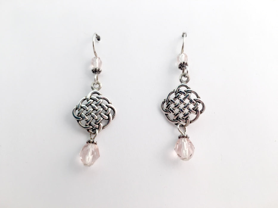 Sterling Silver Celtic Knot dangle  Earrings- Pink glass,  knots, rounded,