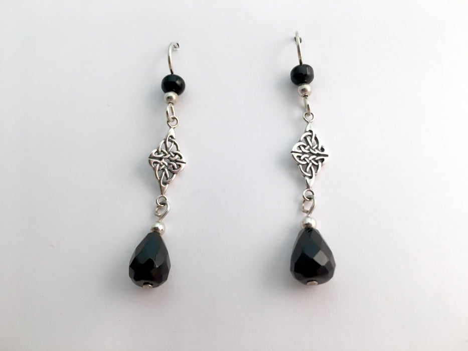 Sterling Silver Double Celtic Knot Dangle Earrings- faceted Obsidian, gorgeous