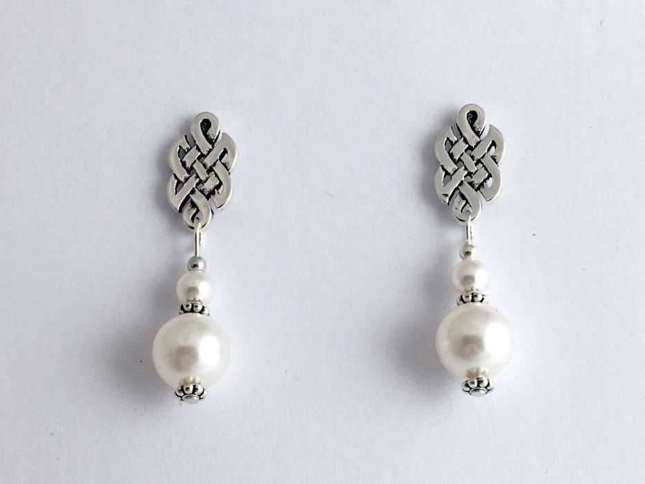 "Sterling Silver & surgical steel Celtic knot stud Earrings-Glass ""Pearls"", knots"
