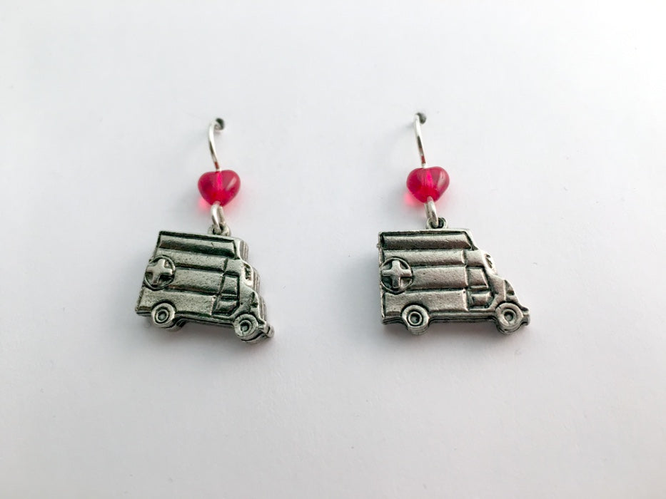 Pewter & Sterling silver Ambulance dangle  Earrings-EMT- Medic, emergency, heart
