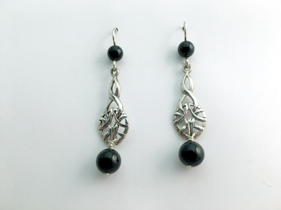 Sterling Silver  Celtic Knot dangle earrings-black onyx, knots, 2 1/4 inches