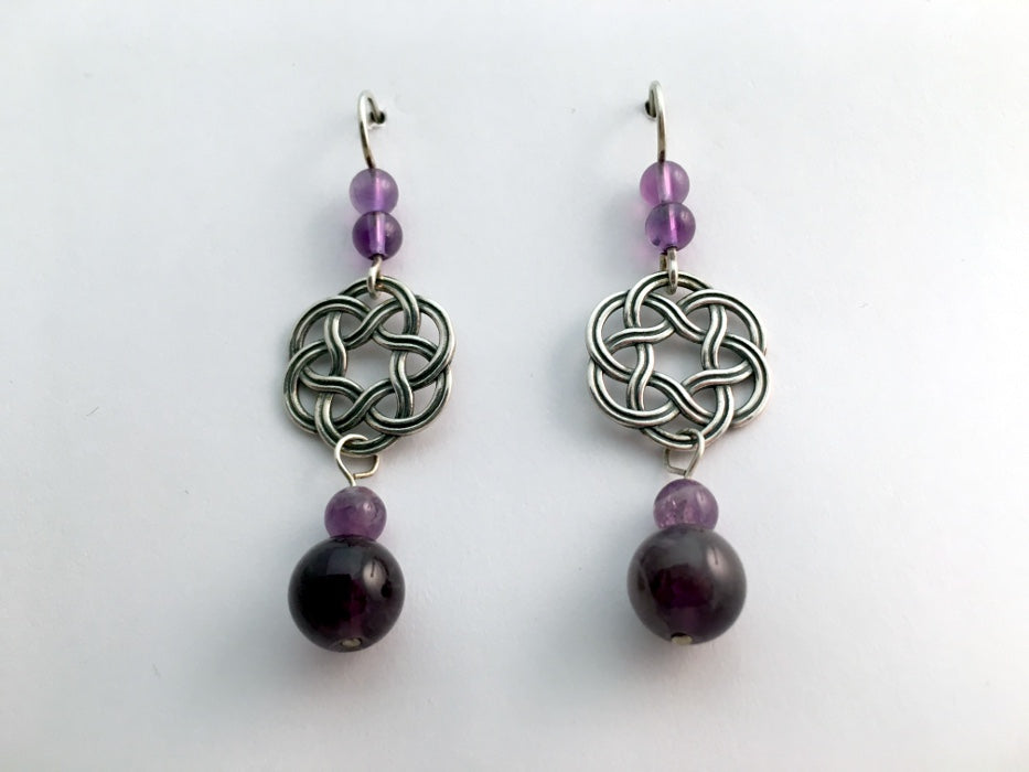 Sterling Silver Large Round Celtic Knot dangle earrings- Amethyst, elegant