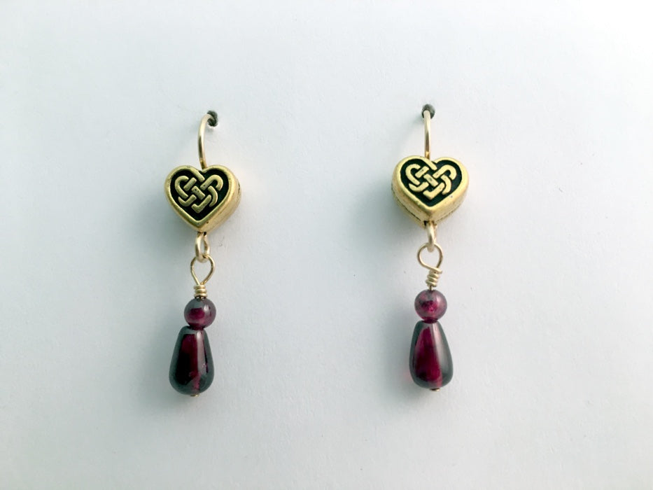 Gold tone Pewter & 14k gf Celtic Knot Heart earrings, garnet, hearts, January