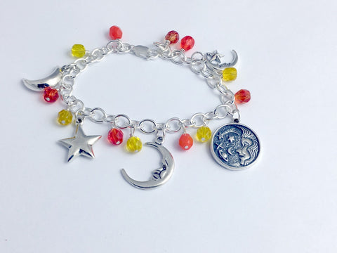 Special Order Sterling Silver Celestial themed Charm Bracelet- yellow and orange