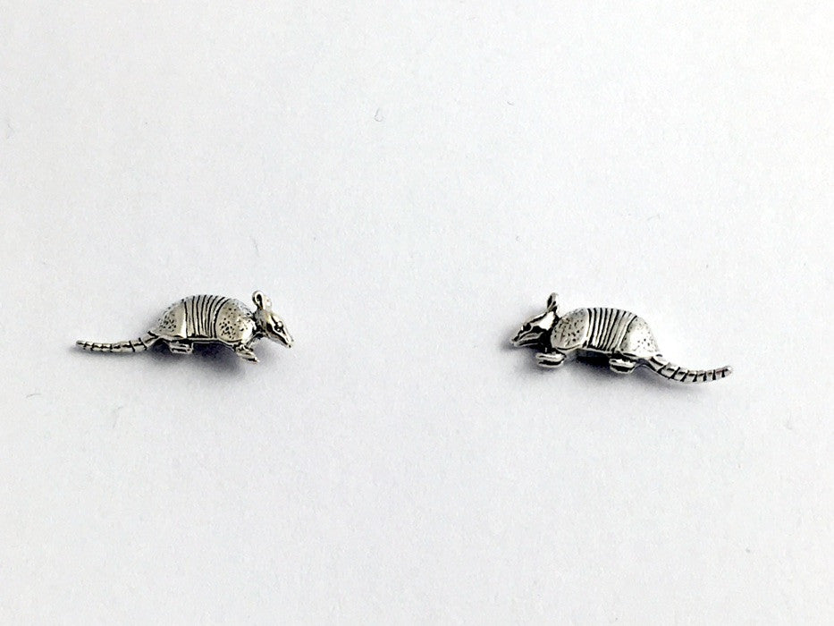 Sterling Silver and Surgical Steel armadillo stud earrings-armadillos- animal