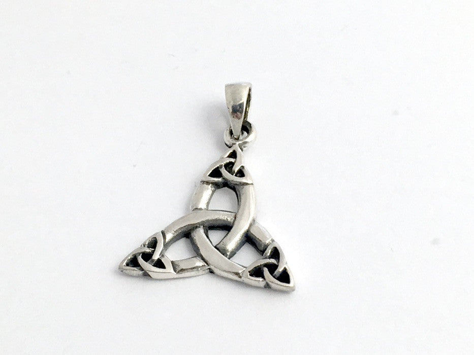 Sterling Silver Celtic Multiple Trinity Knot pendant w/ bail, Triquetra, Knots,