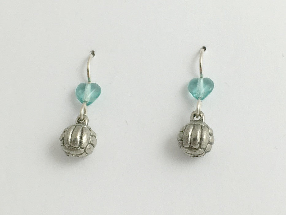 Pewter & sterling silver Volleyball dangle earrings- Volley balls, team colors