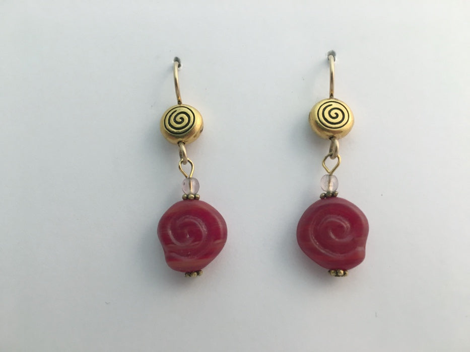 Gold tone Pewter & 14kgf Celtic spiral dangle earrings- rusty red glass, spirals